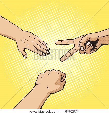 Rock paper scissors hand game pop art style vector