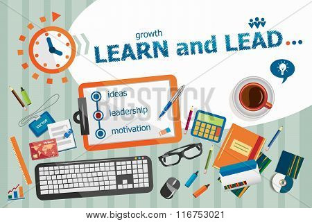Learn And Lead Design Concept. Typographic Poster.