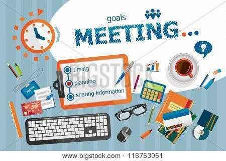Business Meeting Design Concept. Typographic Poster.