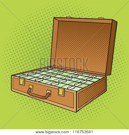 Suitcase with money pop art style vector