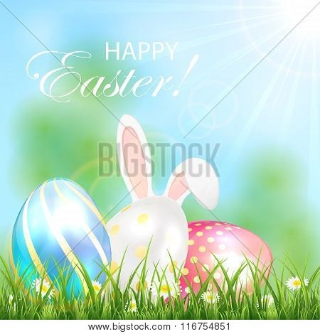 Easter Background With Shiny Eggs And Rabbit