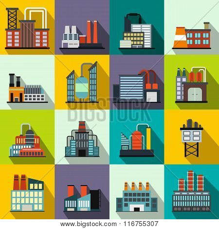 Industrial building factory flat icons