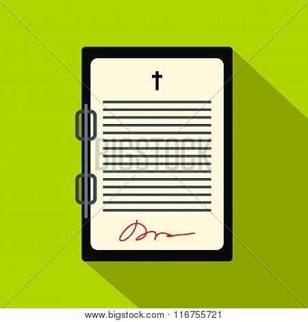 Testament letter flat icon