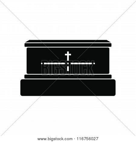 Black luxury coffin simple icon