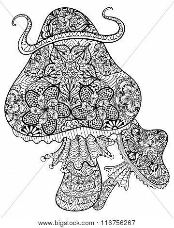 Hand drawn magic mushrooms  for adult anti stress Coloring Page