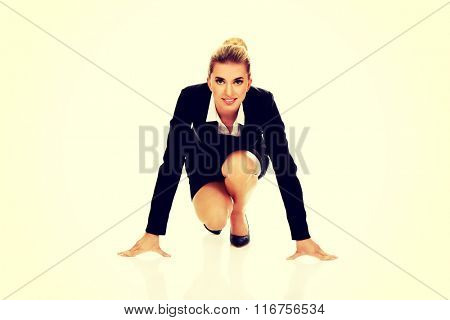Businesswoman getting ready for competition