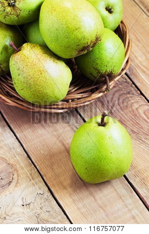 Fresh organic pears on old wood. Pear autumn harvest