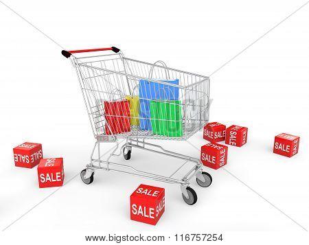 3d shopping bags in shopping cart