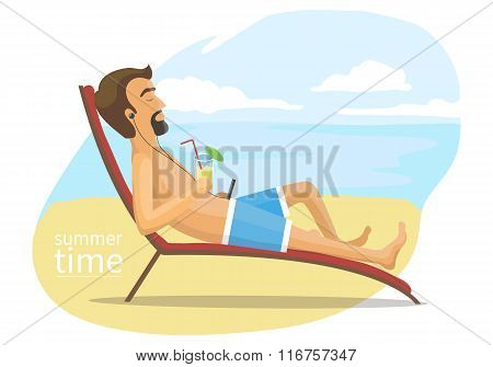 man lies on the deck chair