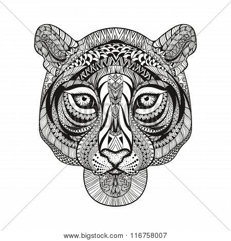 Zentangle stylized Tiger face. Hand Drawn doodle vector illustra