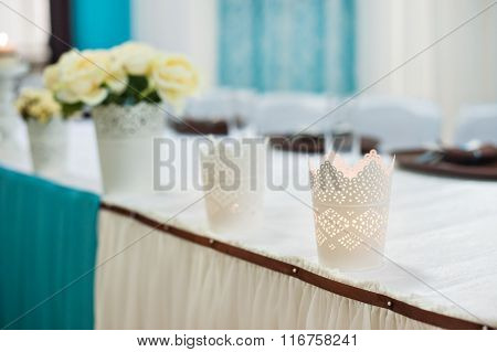 Beautifully Decorated Wedding Table Bride And Groom At A Restaurant In Turquoise Colors