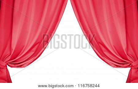 Beautiful Red Curtains Isolated On White Background