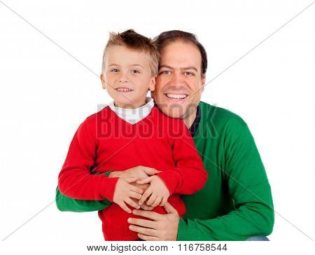 Funny kid with red jersey with his dad isolated on a white background