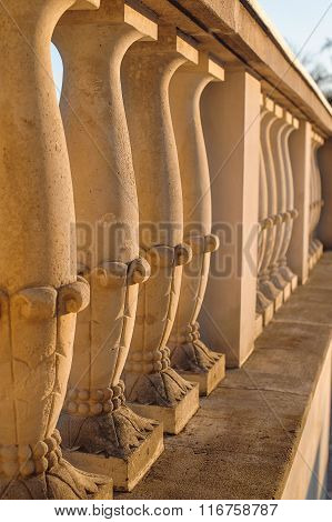 Beautiful Stone Fence In A Classic Style With A Handrail