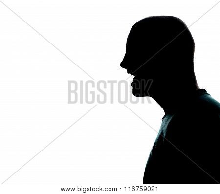 One Caucasian Man Portrait Silhouette Profile Screaming Angry In Studio On White Background
