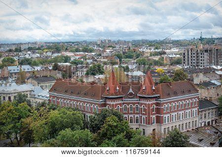 Bird's-eye View Of Old Part Of Lviv, Ukraine