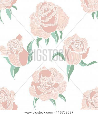 Vector Seamless Colored Background With Roses