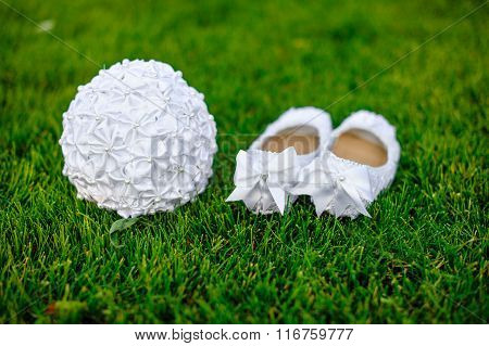 White Shoes Bride Wedding Bouquet On The Grass