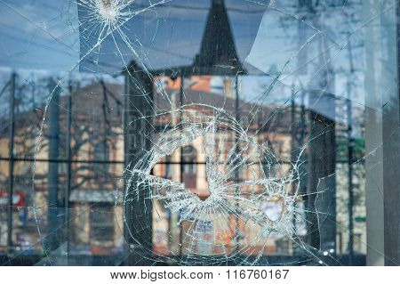 Bullet Holes In The Window Of A Shop In Dnepropetrovsk