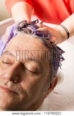 Face Of Man  Getting A Hairwash