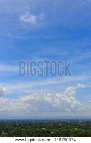 Landscape With Cloudy On Clear Blue Sky
