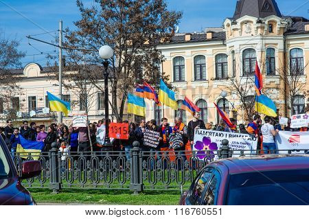 Ukraine, Dnepropetrovsk, April 24, 2015, Armenian Protesters March For 100Th Remembrance Year Of Arm