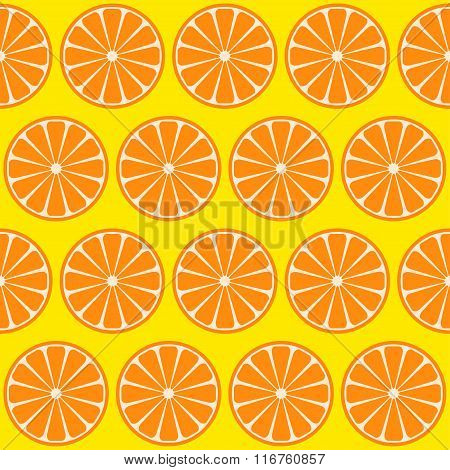 Oranges Isolated On Green Seamless Pattern Background
