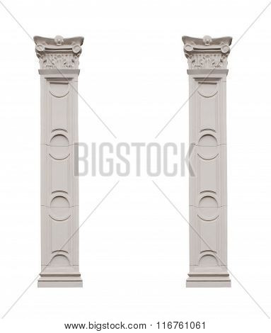 Beautiful Pillars Isolated On White Background