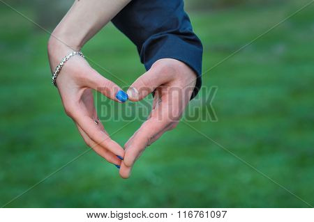Outdoors In Spring Bride And Groom Making Hends Heart
