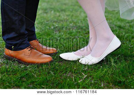 Legs Bridal Groom Wearing Shoes