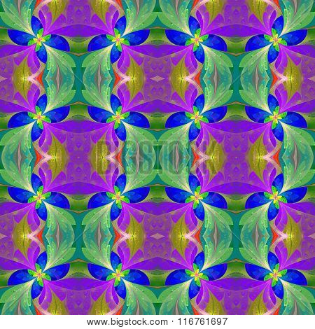 Multicolored Beautiful Symmetrical Pattern In Stained-glass Window Style. Artwork For Design