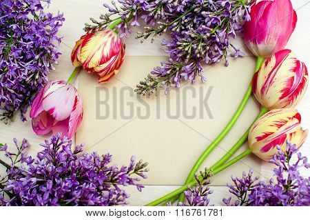 Beautiful Frame Of Lilacs And Tulips For Greeting Card With Place Your Text