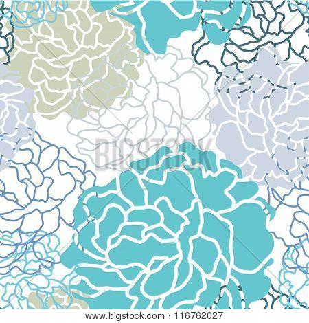 Cool Color Botan Floral Seamless Pattern Vector Design
