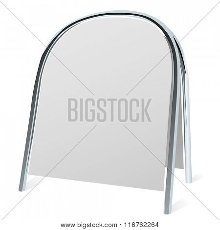 Street advertising folding stand isolated on white.