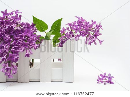 Beautiful Bouquet Of Lilac And A Small Fence On The White Background