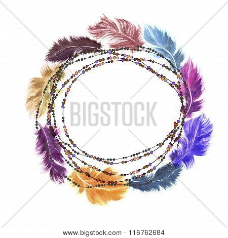 Hand Drawn Watercolor Colorful Orange, Blue, Purple Bird Feather Set Arranged In A Wreath On A Strin