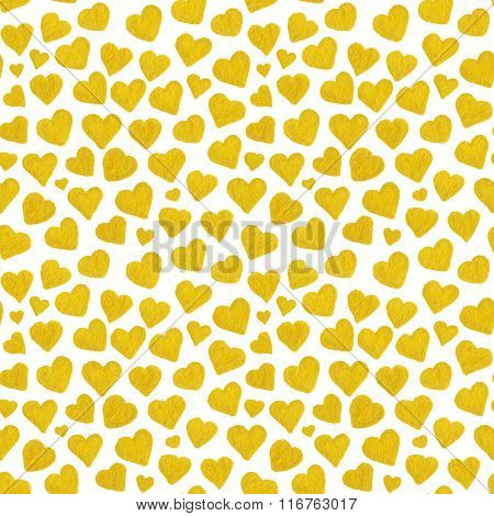 Watercolor Golden Hearts Saint Valentine's Day Seamless Pattern