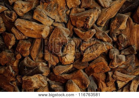 Closeup Of Wood Chip Path Covering. Suitable For Backgrounds Or Fills.