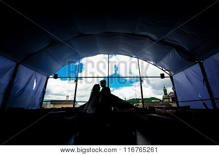Silhouette Of A Loving Couple Against The Window