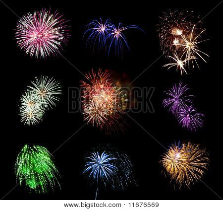 Collection Of Multicolored Fireworks Against A Black Sky