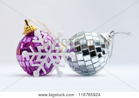 Christmas Decorations - Colorful Balls On White Background