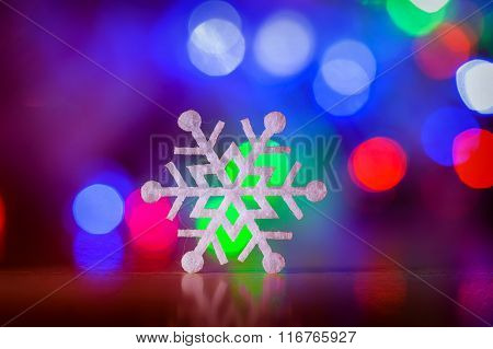 Decorative Christmas Background With Star Lights And Snowflake