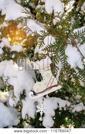 Snow-covered Christmas Tree With Toy