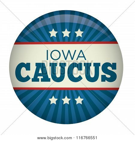 Retro or Vintage Style Iowa Caucus Campaign Election Pin Button or Badge.