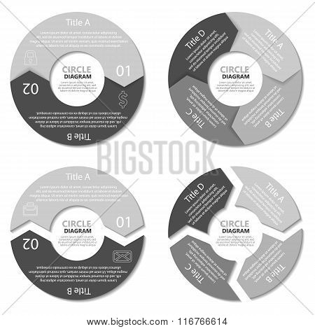 Set of circle diagram. Business concept with two and four options