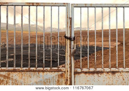 Coal mine with an iron gate