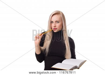 Beautiful Business Woman With Pencil And Notepad Thinking