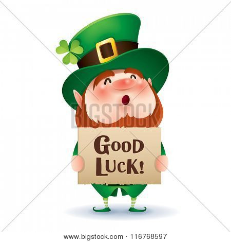 Leprechaun holds a banner with greetings.
