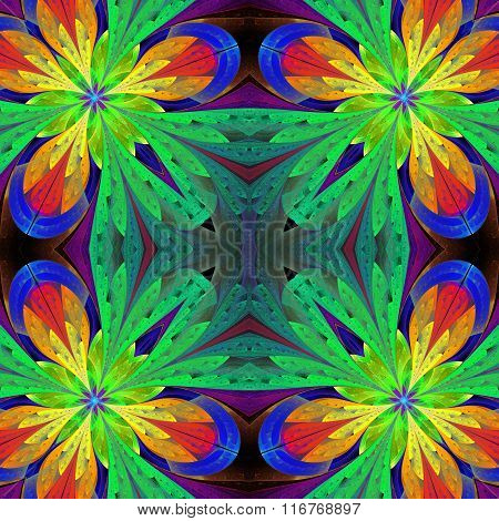 Multicolored Symmetrical Pattern In Stained-glass Window Style On Light. Artwork For Desig