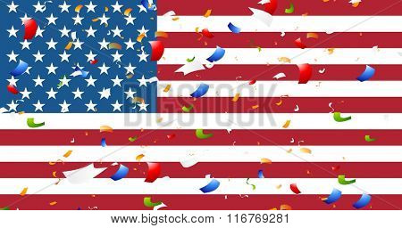 Presidents Day abstract USA flag colors background with confetti. Vector graphic design